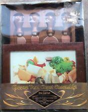 "Cheese Board & Knife Tool Set, Acacia Wood [8.5"" x 8.5""] Gourmet Gift Tavel Set"