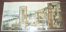 Alte Lehrkarte Rollkarte Tagebau Bergbau Grube Kohle 1928 Lehrmittel vintage !