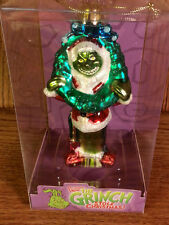* GRINCH WITH WREATH * DR SEUSS BLOWN GLASS NEW ORNAMENT 5""