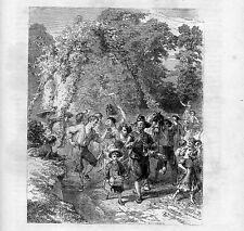 Stampa antica FESTA di CONTADINI per il RACCOLTO musica balli 1867 Old print