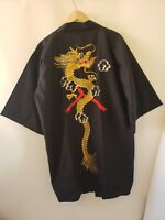 Vintage Japanese Black Satin Short Kimono w/ Embroidered Gold Dragon Red Lining