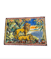 """Vintage Antique Handwoven African Lion Lionness Hanging Wall Tapestry 47""""x69"""""""