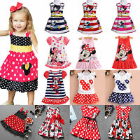 Girls Kids Minnie Mouse Tutu Tulle Skirt Party Mini Dress Child Summer Costume