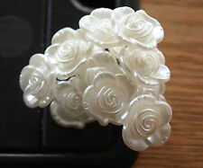 12 x IVORY PEARL ACRYLIC ROSES 15mm ON SILVER WIRE STEMS  BRIDAL CAKE CRAFT