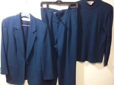 Tailored By Harlan Size 8 Jacket Size 10 Pants 27 Inseam S Medium Sweater Blue
