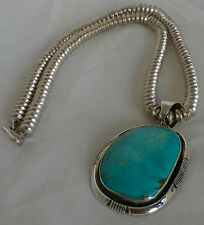 """Navajo Fox Turquoise/Sterling Silver Pendant with 18"""" 92.5 S/S Chain"""