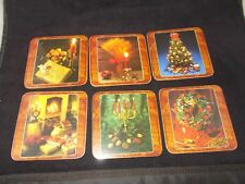 SIX FESTIVE HOLIDAY COASTERS /CORK BACK/ DIFFERENT IMAGES ON EACH COASTER