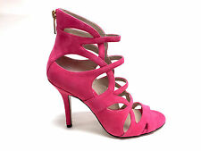 MICHAEL KORS Carnation-Pink Kid-Suede Hi-Heel Cage Sandals Sz37.5