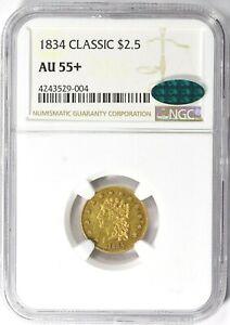 1834 NGC CAC AU55+ Plus Gold Quarter Eagle Classic Head Rare $2.50 Type Coin