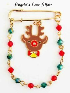 CHRISTMASY XMAS ENAMEL CRYSTAL RUDOLPH REINDEER BEADED CHAIN SAFETY PIN BROOCH