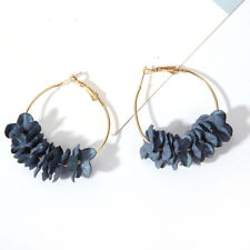 Fashion Women Cloth Art Flower Petal Hoop Ear Stud Elegant Earrings Big Hoops