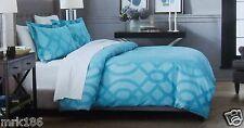 Fieldcrest Luxury 3 Pc Duvet Cover Set Geometric Design ~ Queen Blue  NEW