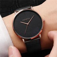 Fashion Geneva Mens Watch Stainless Steel Case Strap Analog Quartz Sport Watches