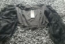 Ladies Black Long Lace Sleeve Cropped Top Size 10