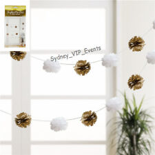 Metallic Gold White Puff Garland 3m Party Hanging Pom Poms Tissue Paper 8pcs