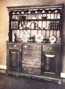 Early American HUTCH How-To Build PLANS Colonial 5' wide