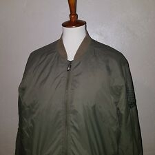 Quicksilver ARMY GREEN  Light Flight Jacket mens Large Zip Bomber SURF Indie