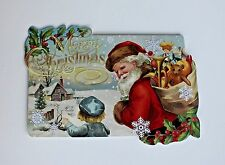 *PUNCH STUDIO Set of 4 Die Cut Blank Christmas Note Cards ~Child~Old World~Santa