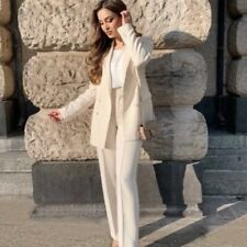 ZARA WOMAN WHITE DOUBLE BREASTED BUTTONED BLAZER AND PANTS SUIT CO-ORD SET S