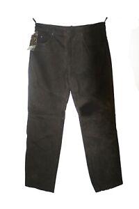 Men genuine soft cowhide Nubuck Leather Brown color 5 pockets Jeans style pants