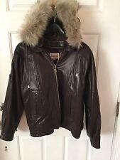 Damselle Soft  Wool Jacket With Detachable Fur Hood. Size M
