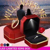 7.5cm Jewelry Ring Box Holder with LED Light Wedding Proposal Engagement Gift