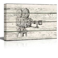 Crosshatch Movie Camera - Reel to Reel Artwork - Rustic Canvas Wall Art - 12x18