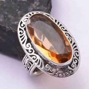 Honey Citrine Ethnic Handmade Ring Jewelry US Size-8.5 AR 42211