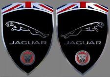 2 adhésifs stickers noir & chrome JAGUAR (à coller sur les ailes avant)