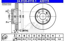 ATE Juego de 2 discos freno Antes 236mm ventilado para RENAULT CLIO