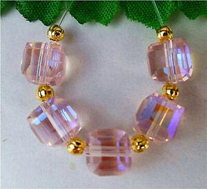 5Pcs 7x7x7mm Pink Titanium Crystal Height Hole Facet Square Pendant Bead AP51151