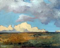 "Cloud Horizon Landscape Impressionist Original Oil Painting Signed 16""x20"""