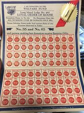 C. 1940's Loyal Order Of Moose Gambling Punchboard-Punch Card-Unused-Long Island