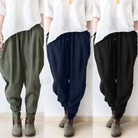 ZANZEA Women Cotton Linen Elastic Waist Loose Harem Pants Long Leggings Trousers