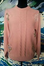 1980s/1990s Knitted Jumper- Retro Vintage Embroidered Cable Floral Pink- S/10/12