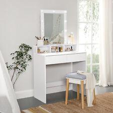Coiffeuse avec miroir et ampoules, Table de maquillage, avec 2 tiroirs,Blanc