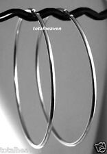 "COUTURE 3"" BIG Solid 14k WHITE Gold Endless Hoop Earrings 2mm 3.65g CLASSIC"