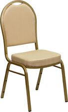 Dome Back Stacking Banquet Chair in Beige Patterned Fabric with Gold Vein Frame