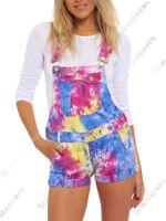 NEW Womens Neon DUNGAREE SHORTS Rainbow Splash Size 6 8 10 12 14 short
