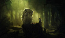 Large Framed Print - Wise Old Owl & a Mouse (Picture Poster Art Animal Bird)