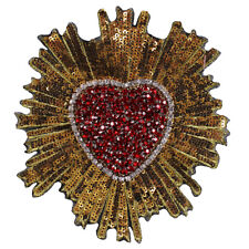 2 Beaded Red Gold Crystal Heart Patches Sequin Applique Badges Sew on Motif