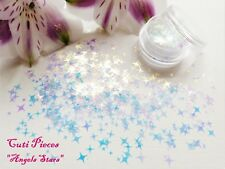 Nail Art *Angels Stars* Iridescent Tiny Star Holographic Mix Pot Spangle Glitter