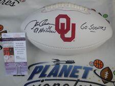 Steve Owens signed Oklahoma OU Sooners logo football w/ 69 Heisman JSA COA Lions