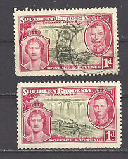 SOUTHERN RHODESIA , 1937 , CORONATION, SET OF 2 STAMPS ,  PERF, VLH/USED