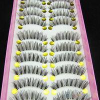 10 Pairs Pretty Long Cross False Eyelashes Makeup Natural Fake Thick Eye Lashes