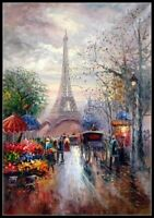 Eiffel Tower Flower Market - Chart Counted Cross Stitch Patterns Needlework
