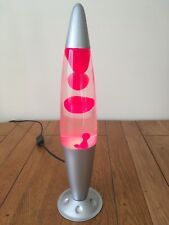 """Retro 1960's Style Red Floating Wax Lava Lamp Silver Rocket Astro Bullet 16 1/4"""""""