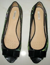 SIZE 39 GEOX RESPIRA - FLORAL PRINT PATENT LEATHER & FABRIC LADIES PUMPS SHOES