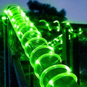 Green Solar LED Rope String Lights Night Twinkle Waterproof Outdoor Garden Decor