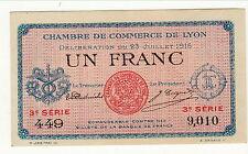 BILLET 1 FRANC    CHAMBRE DE COMMERCE DE LYON 3SERIE NEUF